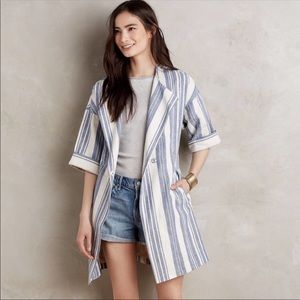 💙 Anthropologie Elevenses Striped Linen Jacket 💙